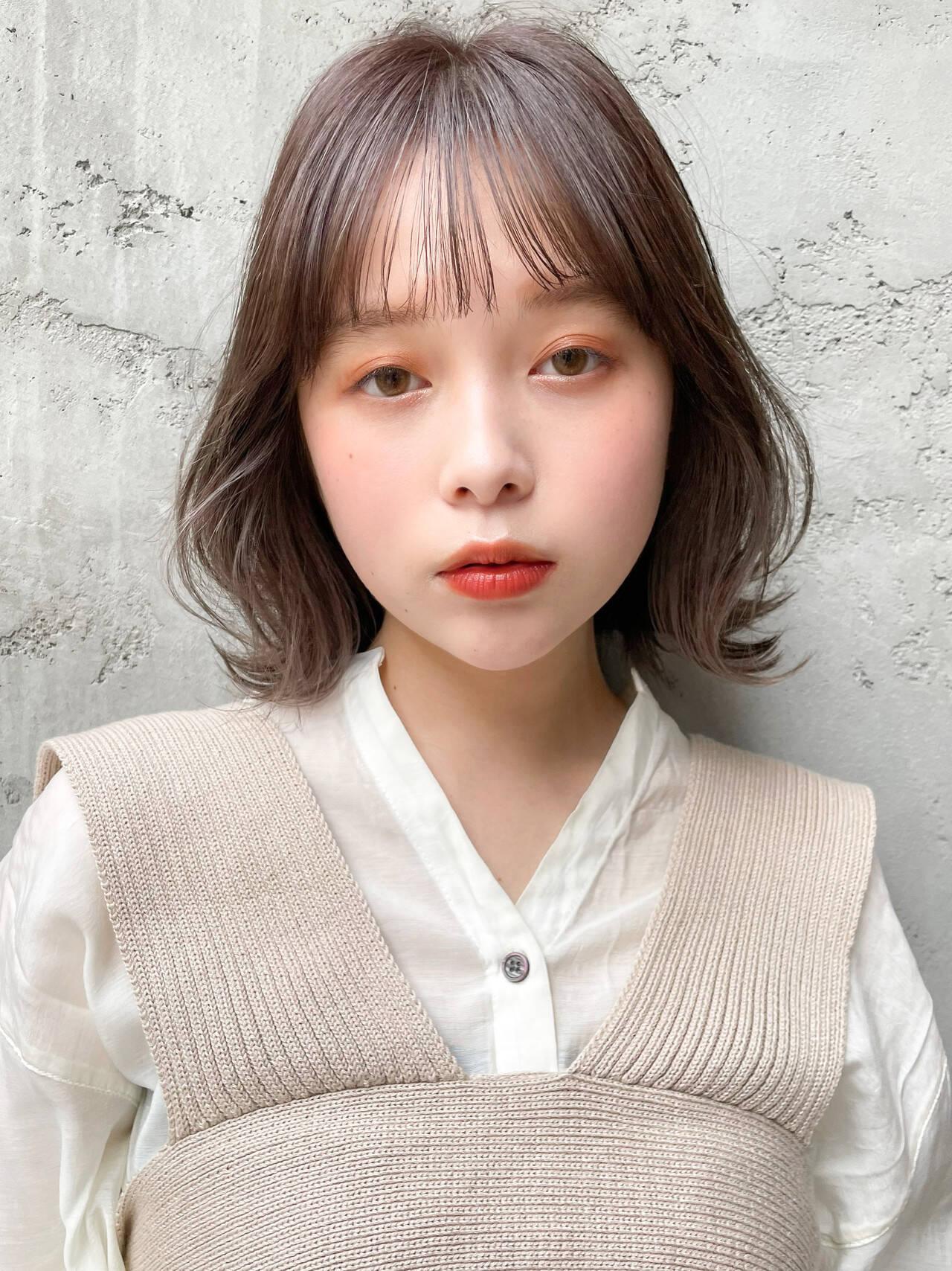 ボブ 韓国ヘア パーティ アウトドアヘアスタイルや髪型の写真・画像