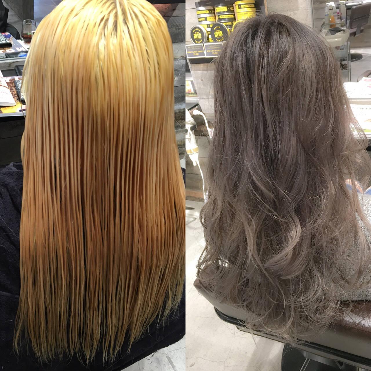 アッシュ 外国人風 グラデーションカラー ストリートヘアスタイルや髪型の写真・画像