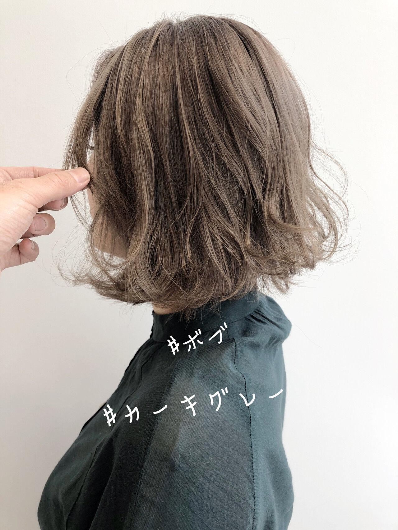 ミニボブ 切りっぱなしボブ ナチュラル ショートボブヘアスタイルや髪型の写真・画像