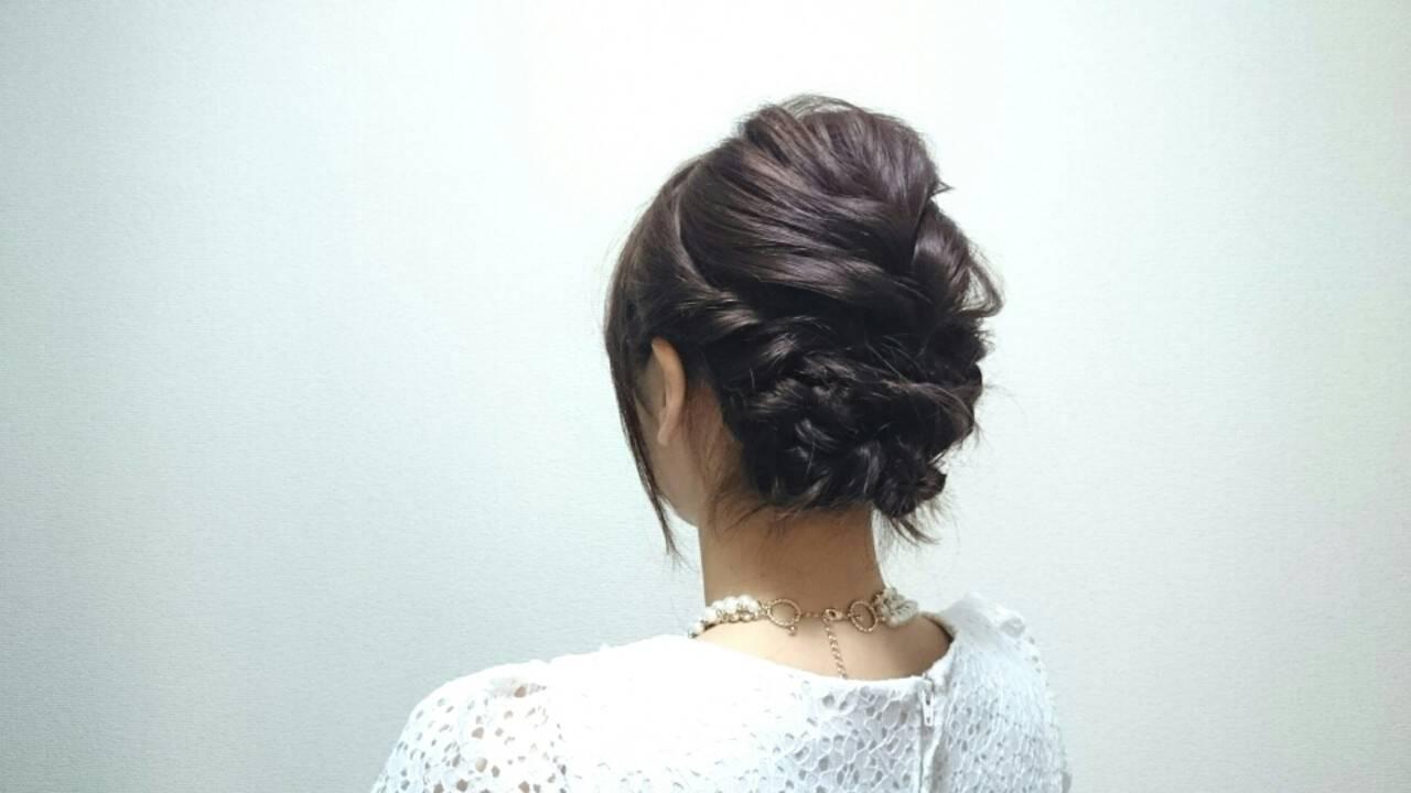 結婚式 ミディアム 簡単ヘアアレンジ ショートヘアスタイルや髪型の写真・画像