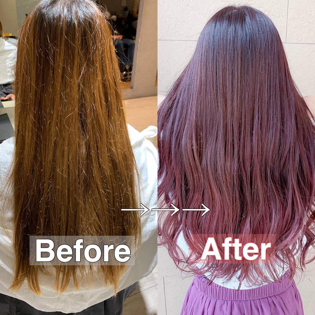 ピンクカラー フェミニン デザインカラー ピンクラベンダーヘアスタイルや髪型の写真・画像