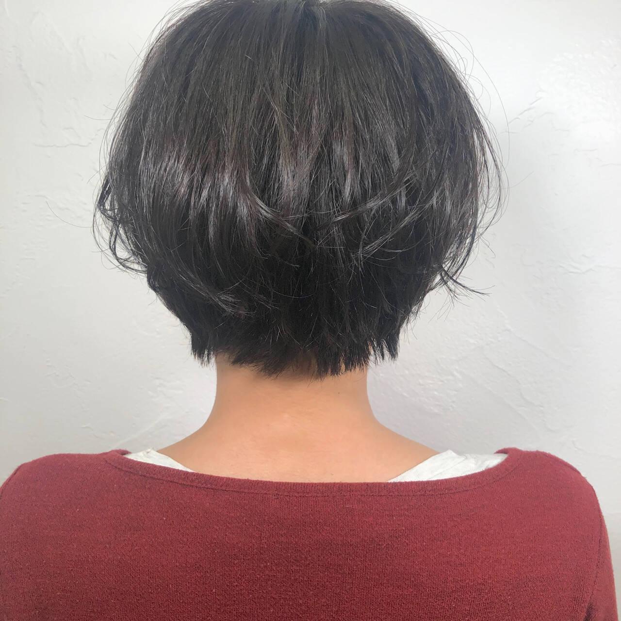黒髪 デート ナチュラル ショートヘアスタイルや髪型の写真・画像