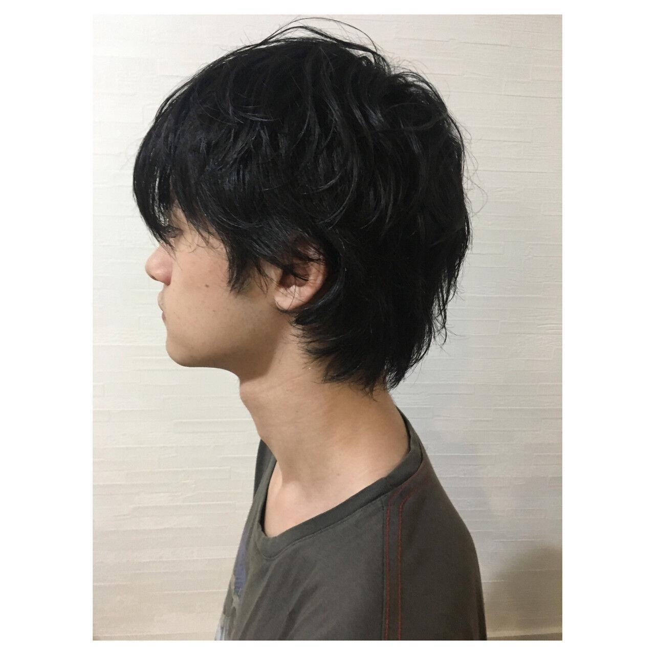 ウルフカット ショート マッシュウルフ メンズカットヘアスタイルや髪型の写真・画像