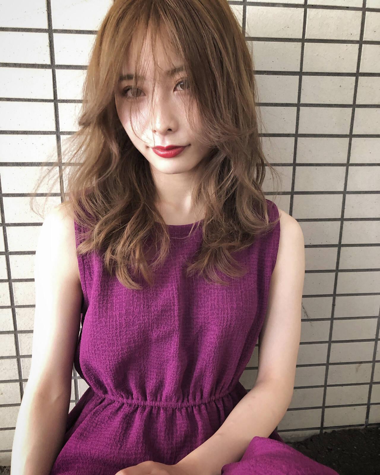 セミロング 外国人風カラー バレイヤージュ 外国人風ヘアスタイルや髪型の写真・画像