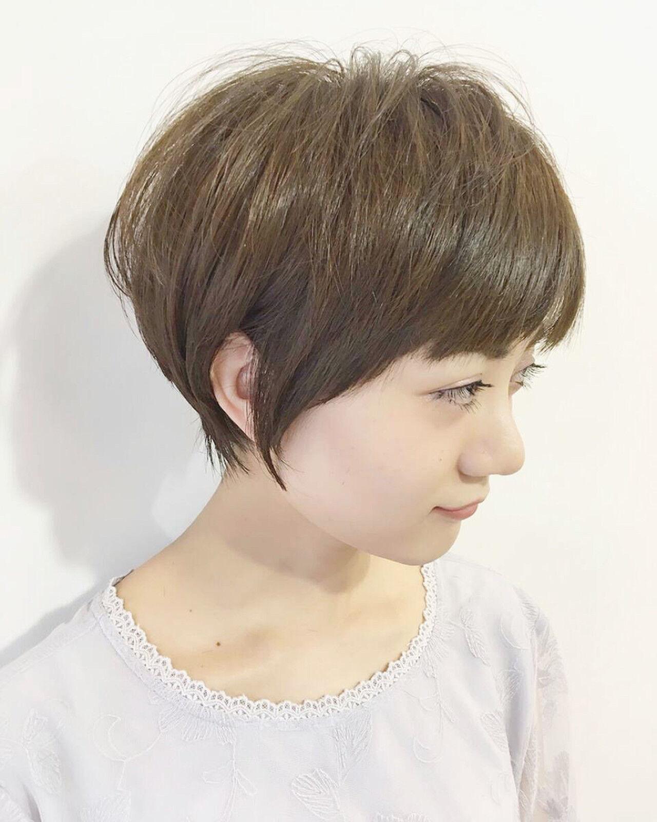 ナチュラル ショート 小顔 似合わせヘアスタイルや髪型の写真・画像