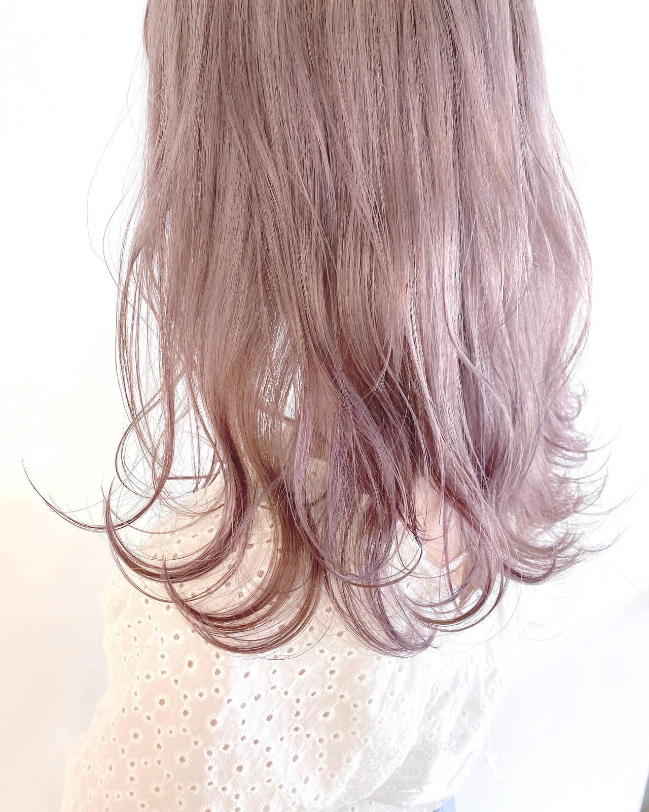 ナチュラル ラベンダー ラベンダーピンク ミディアムヘアスタイルや髪型の写真・画像