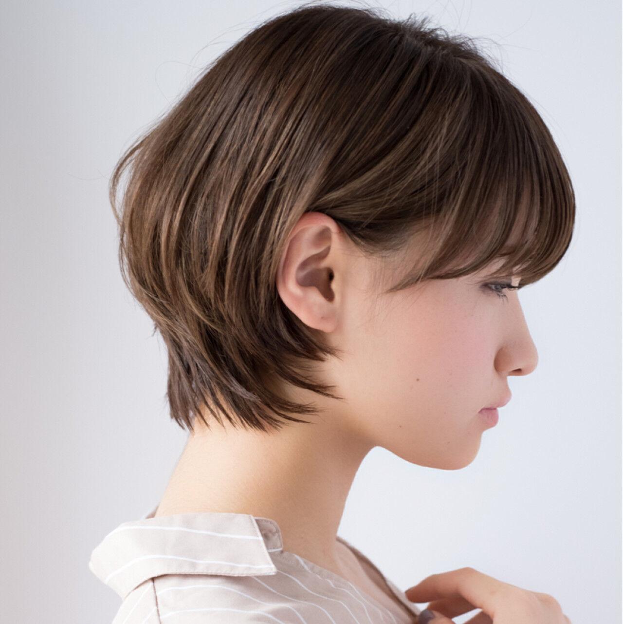 デート デジタルパーマ ショートボブ ボブヘアスタイルや髪型の写真・画像