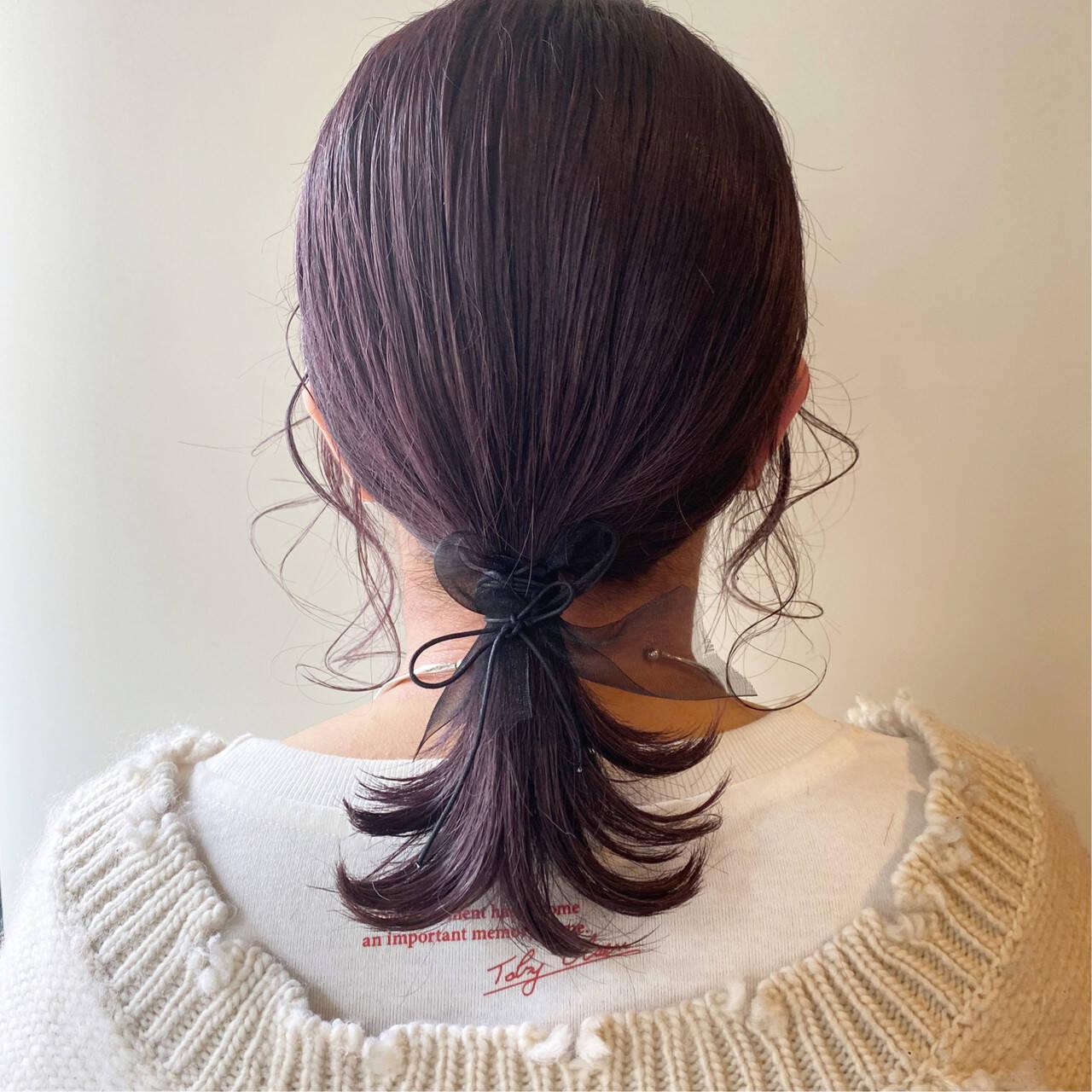 ラベンダーピンク ミディアム ヘアアレンジ 簡単ヘアアレンジヘアスタイルや髪型の写真・画像