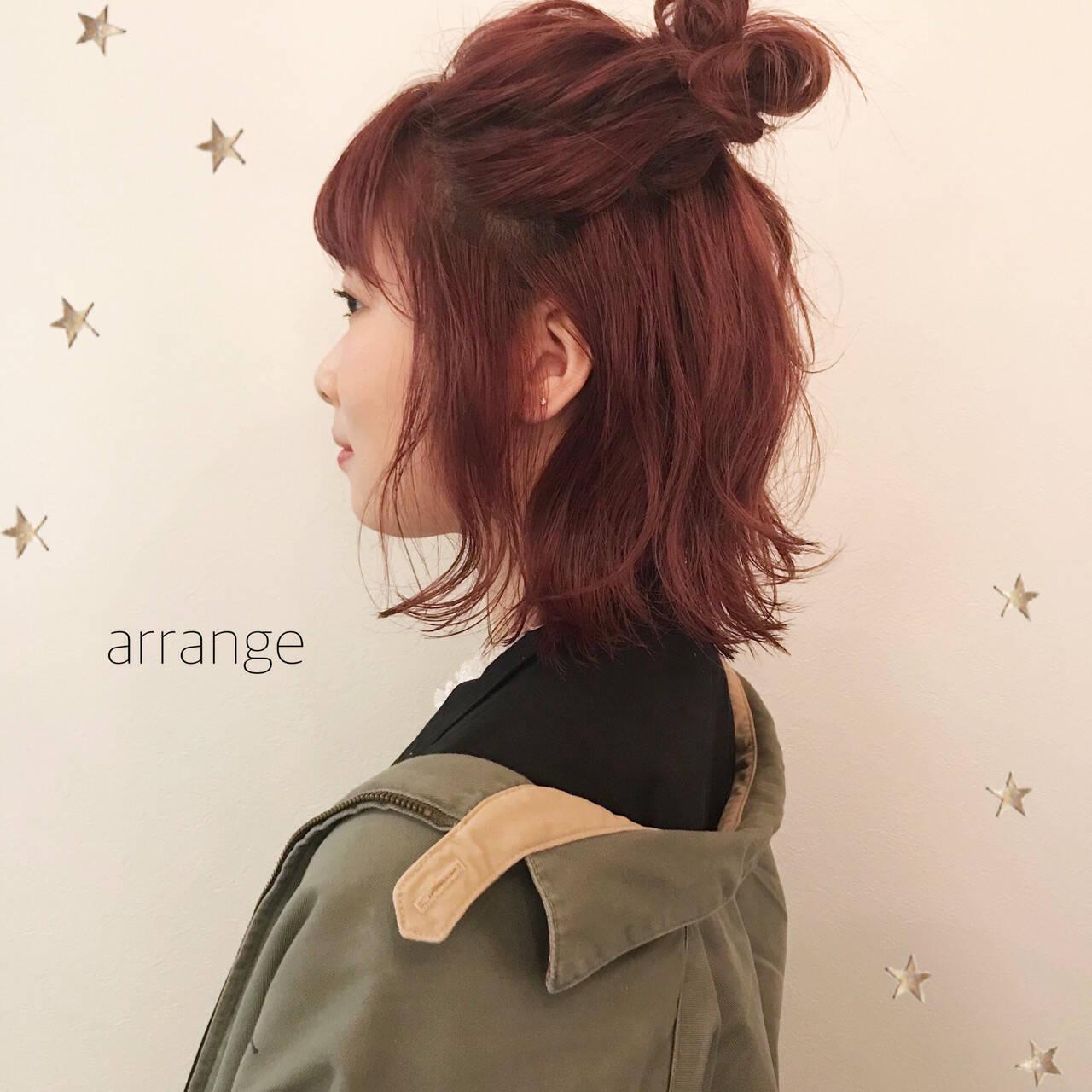 ハーフアップ ピンク ミディアム ヘアアレンジヘアスタイルや髪型の写真・画像