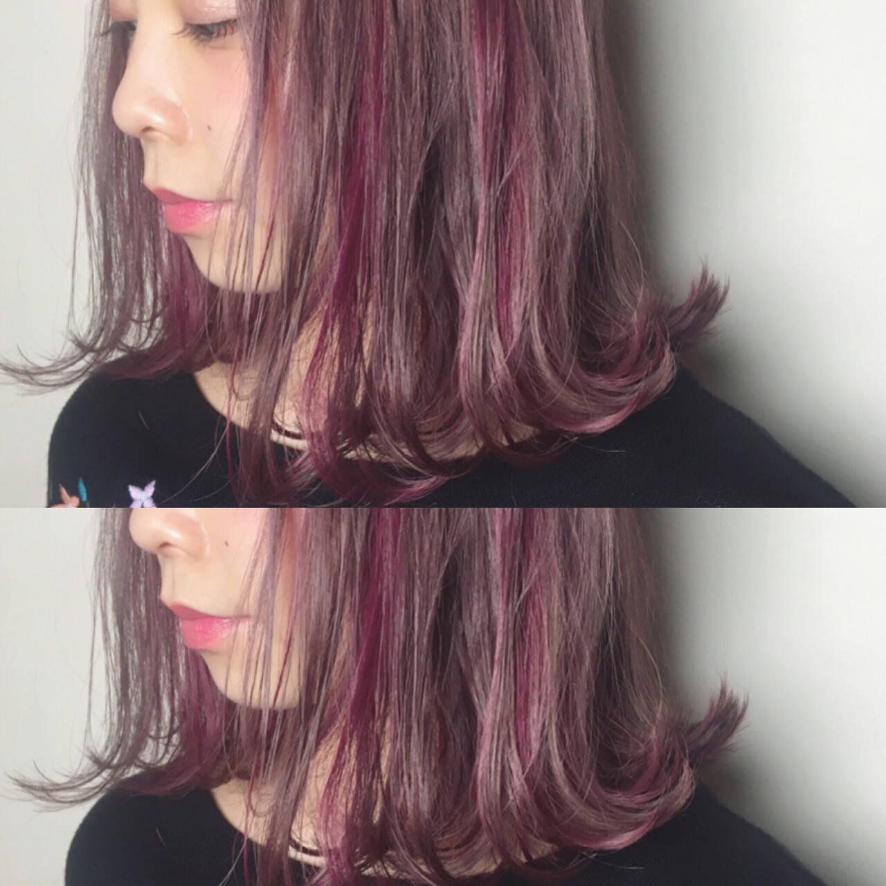 ミディアム 切りっぱなし ラベンダー ストリートヘアスタイルや髪型の写真・画像