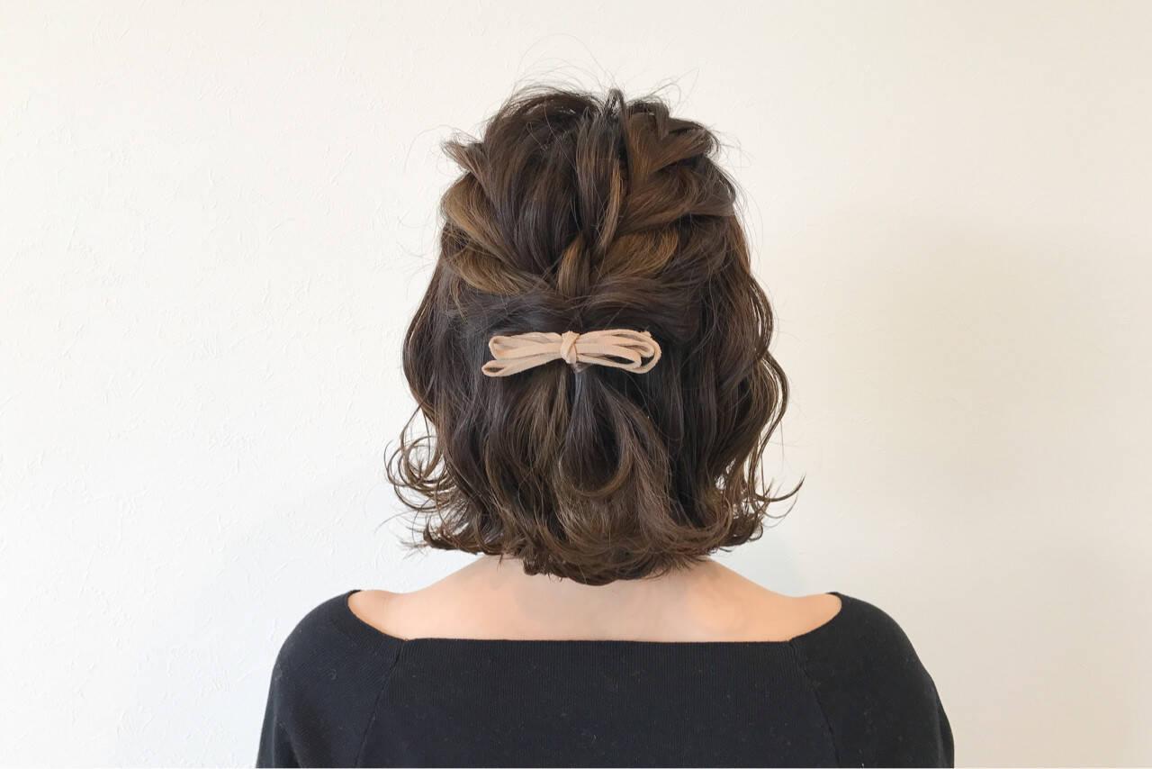 ボブ 編み込み ヘアアレンジ 結婚式ヘアスタイルや髪型の写真・画像