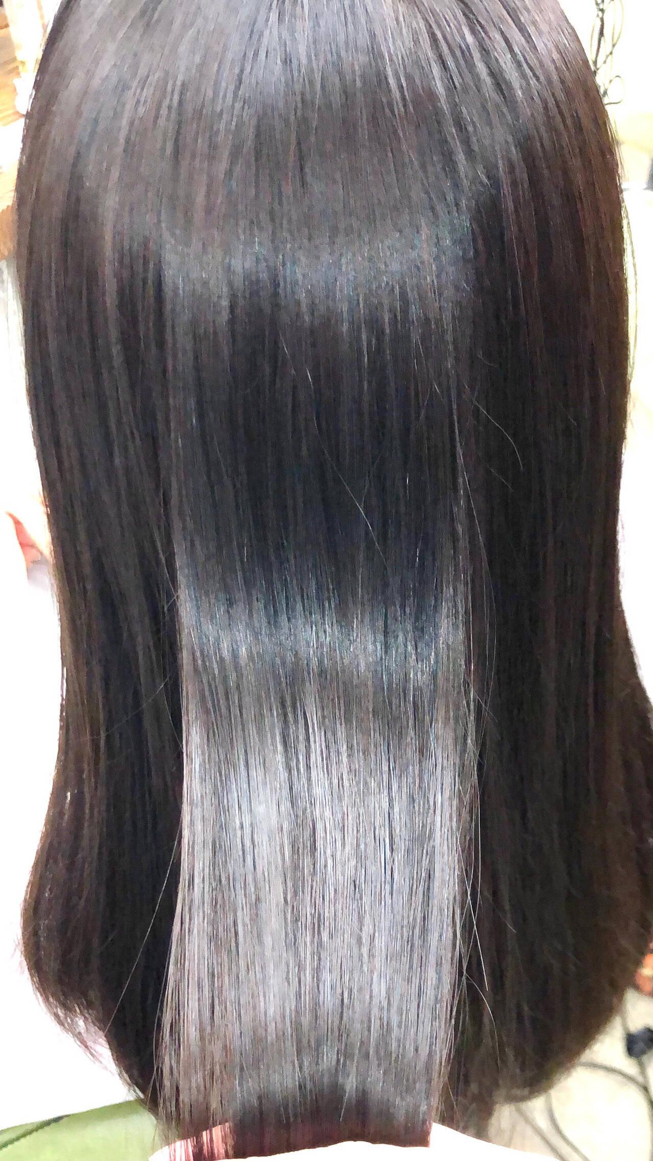 ツヤ髪 縮毛矯正 セミロング 美髪ヘアスタイルや髪型の写真・画像