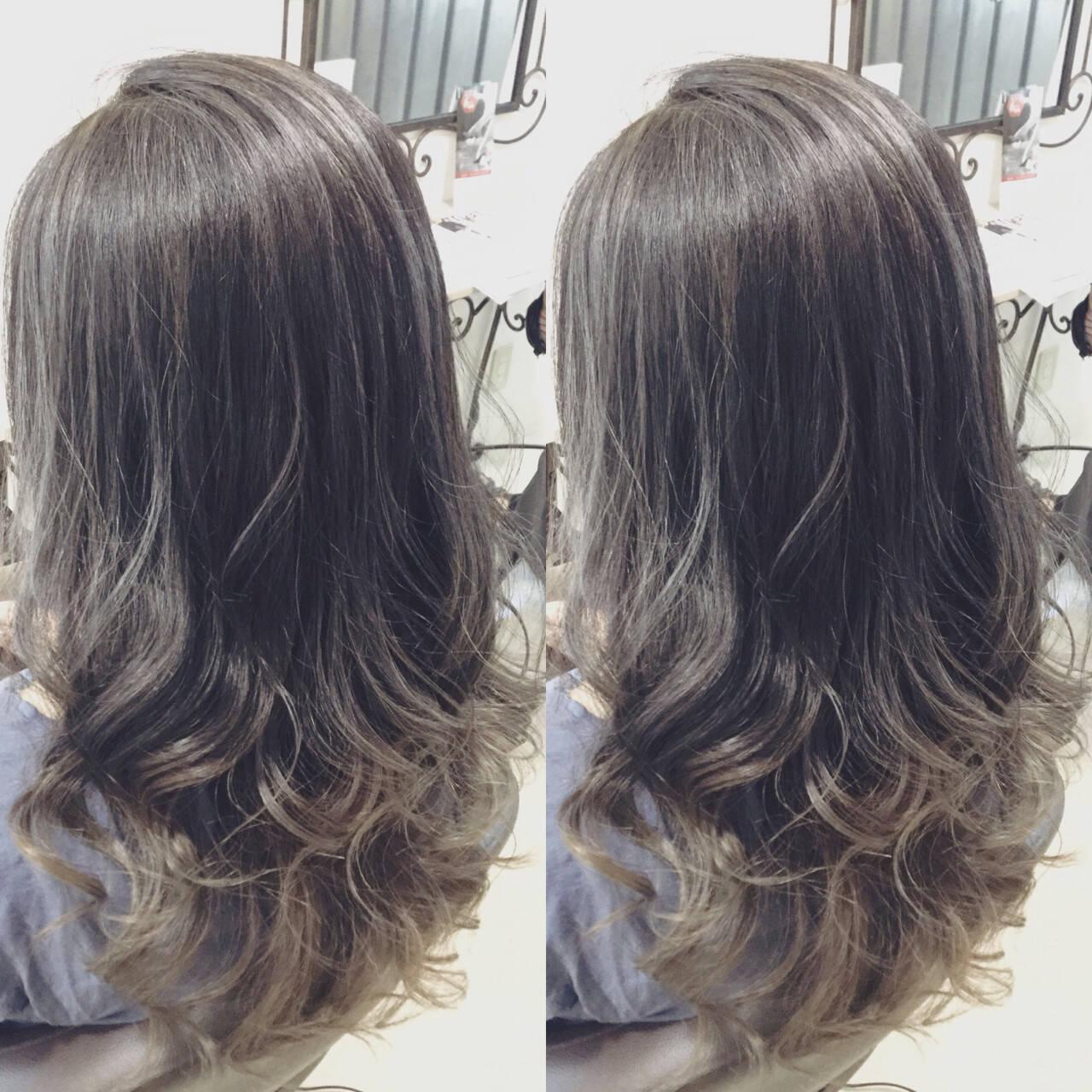 モード アッシュ 外国人風 グラデーションカラーヘアスタイルや髪型の写真・画像