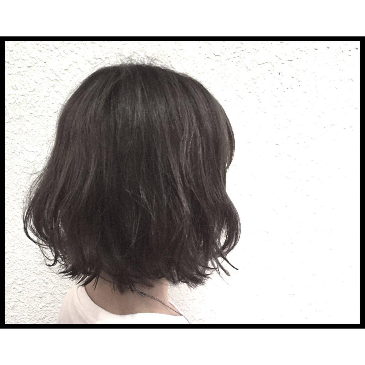 暗髪 透明感 ブリーチ ボブヘアスタイルや髪型の写真・画像