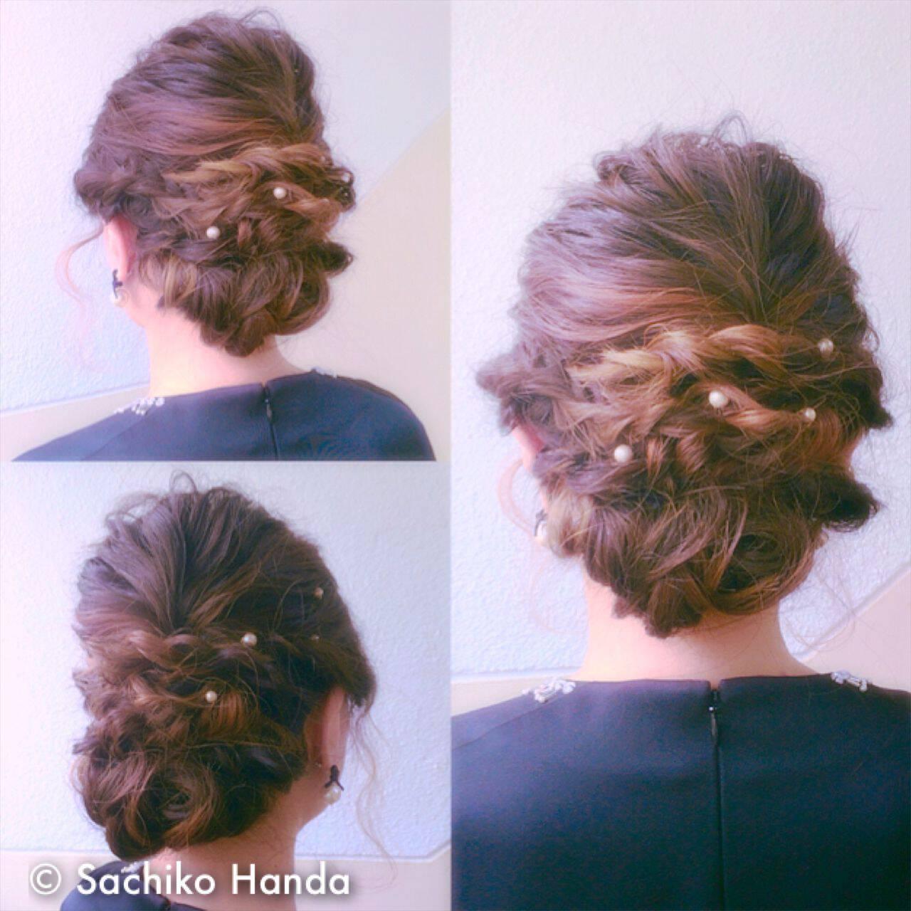 ウェーブ アップスタイル ストリート 暗髪ヘアスタイルや髪型の写真・画像