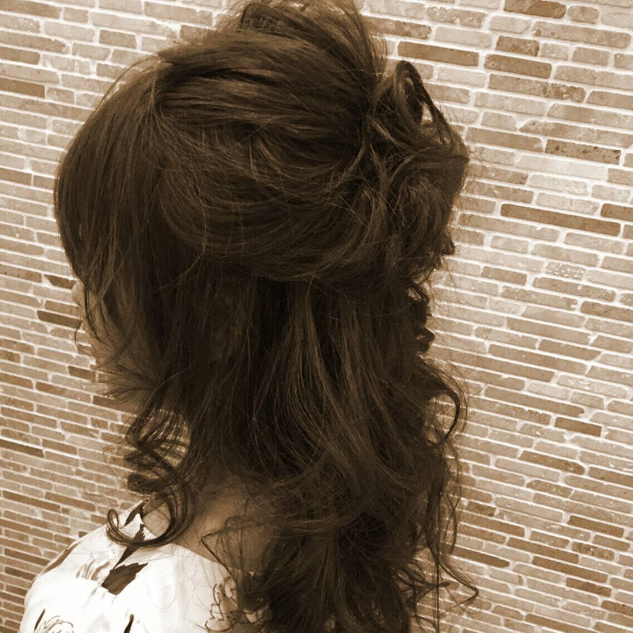大人かわいい ハーフアップ セミロング フェミニンヘアスタイルや髪型の写真・画像