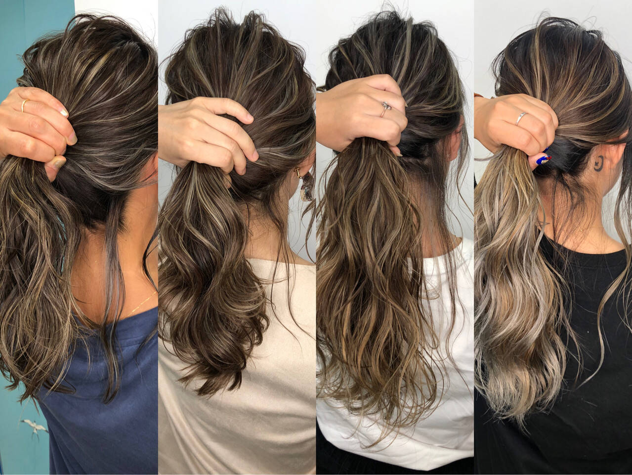 ストリート セミロング グレージュ ハイライトヘアスタイルや髪型の写真・画像