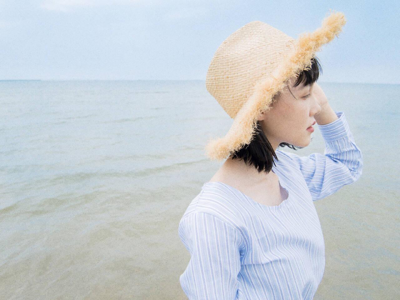 ミディアム 夏 外国人風 ナチュラルヘアスタイルや髪型の写真・画像