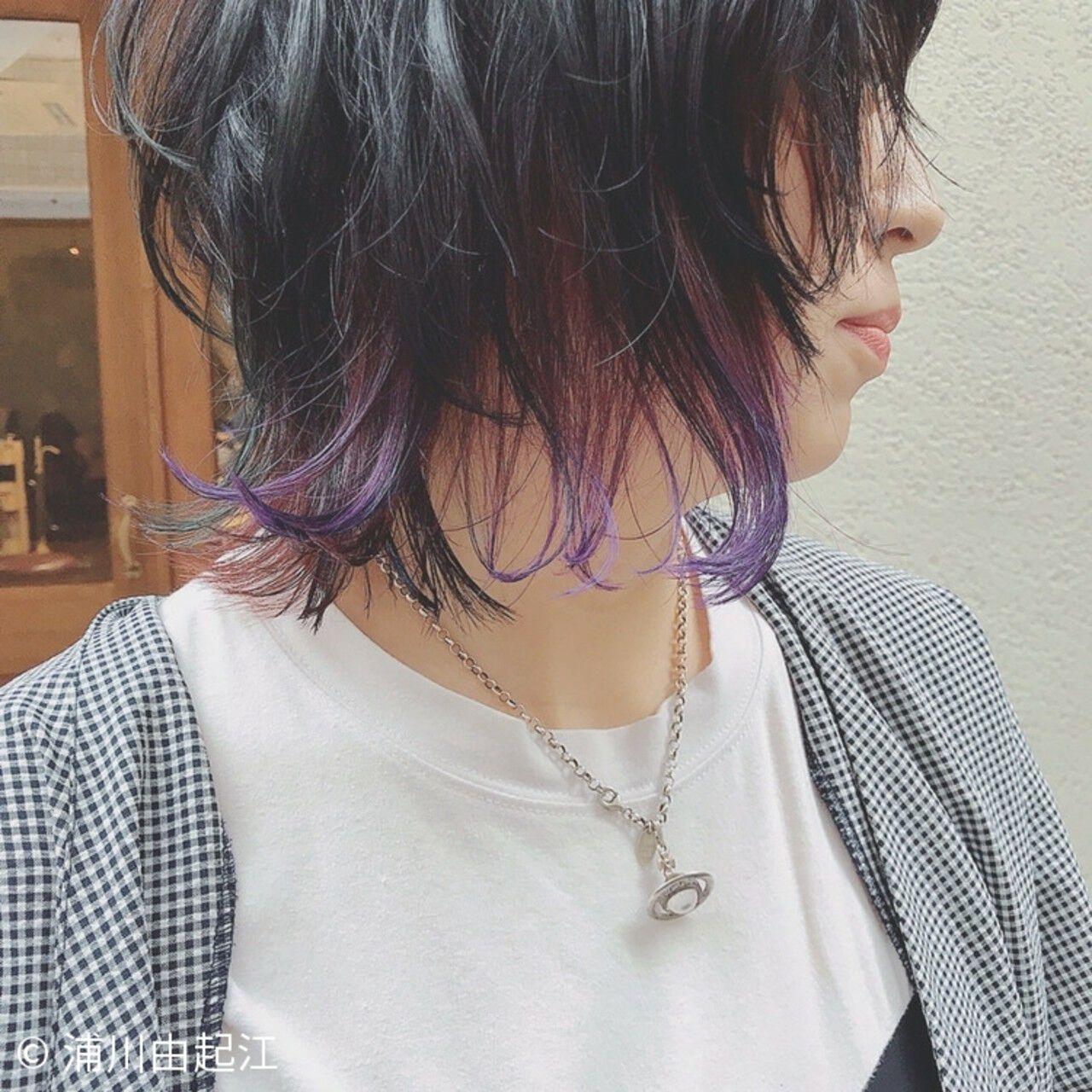 インナーカラー 大人かわいい ゆるふわ モードヘアスタイルや髪型の写真・画像