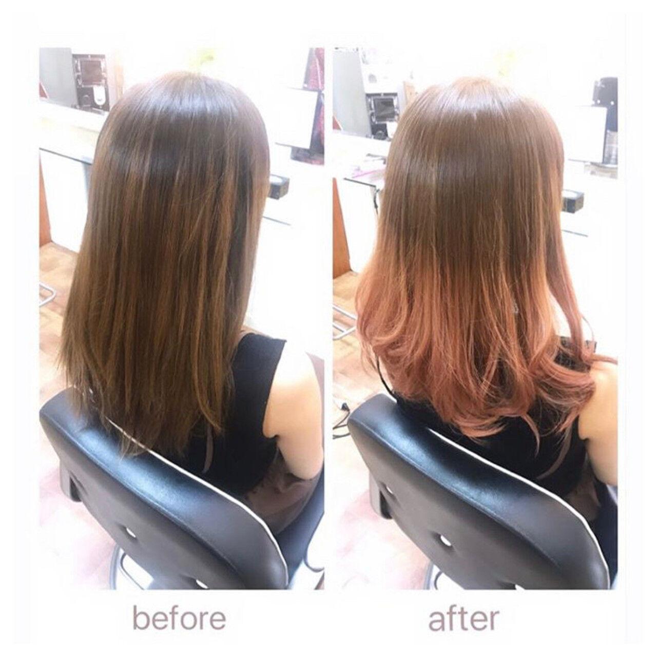 ピンクベージュ ピンクブラウン セミロング フェミニンヘアスタイルや髪型の写真・画像