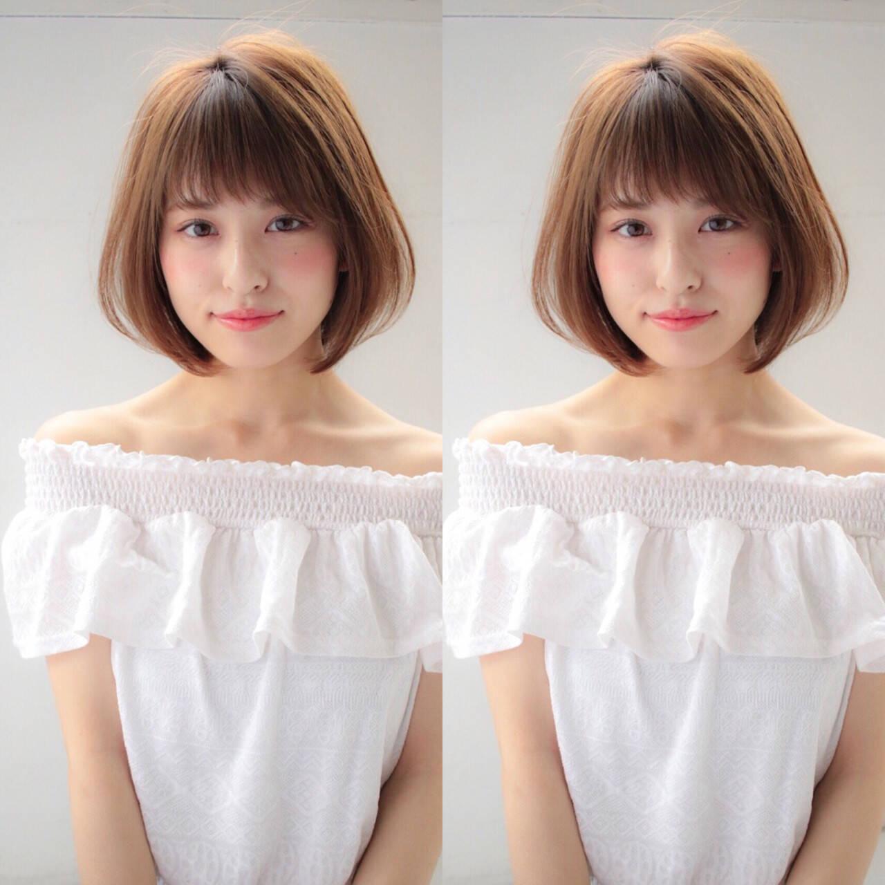 ショートボブ 小顔 大人かわいい かわいいヘアスタイルや髪型の写真・画像
