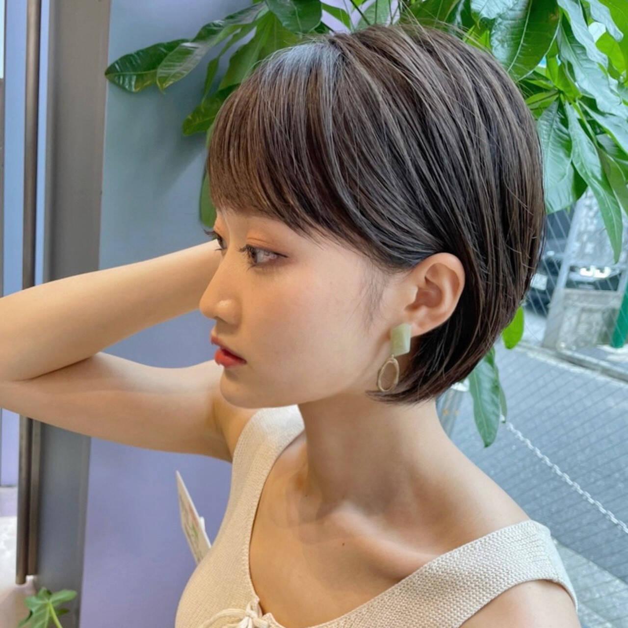 大人ショート ショートボブ ミニボブ ショートヘアヘアスタイルや髪型の写真・画像