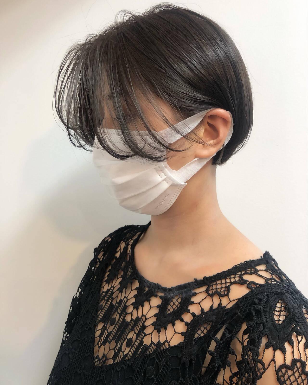 ショート 透明感カラー ミニボブ ショートヘアヘアスタイルや髪型の写真・画像