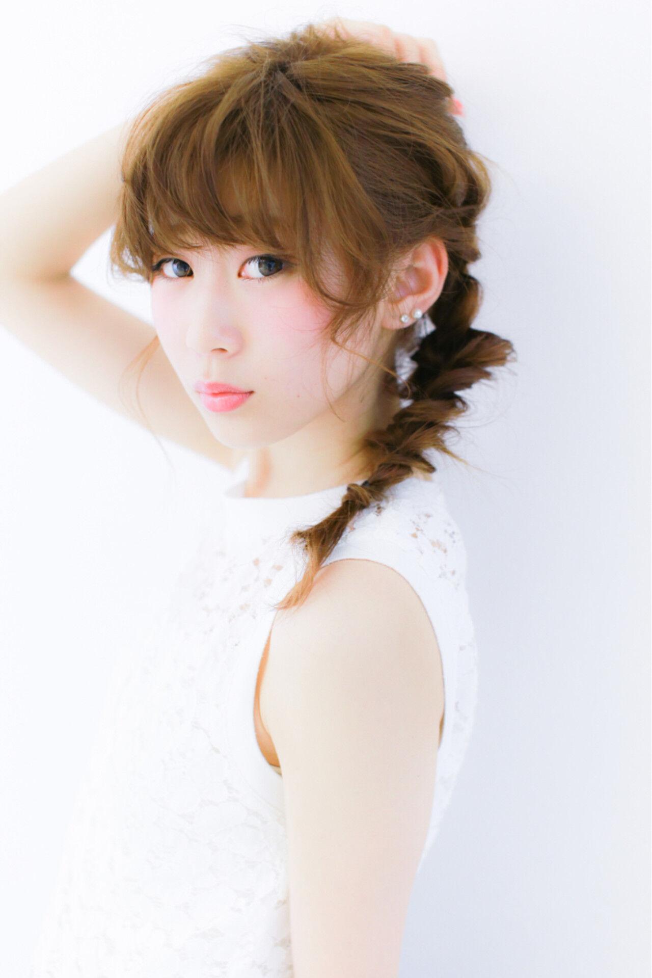 編み込み セミロング 簡単ヘアアレンジ ショートヘアスタイルや髪型の写真・画像