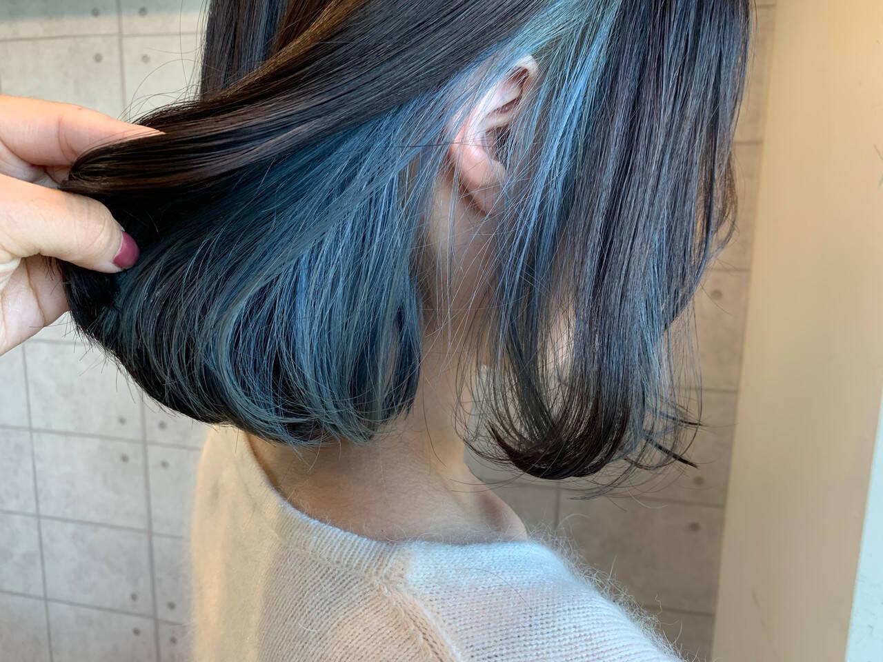 ポイントカラー インナーカラー ガーリー ミニボブヘアスタイルや髪型の写真・画像