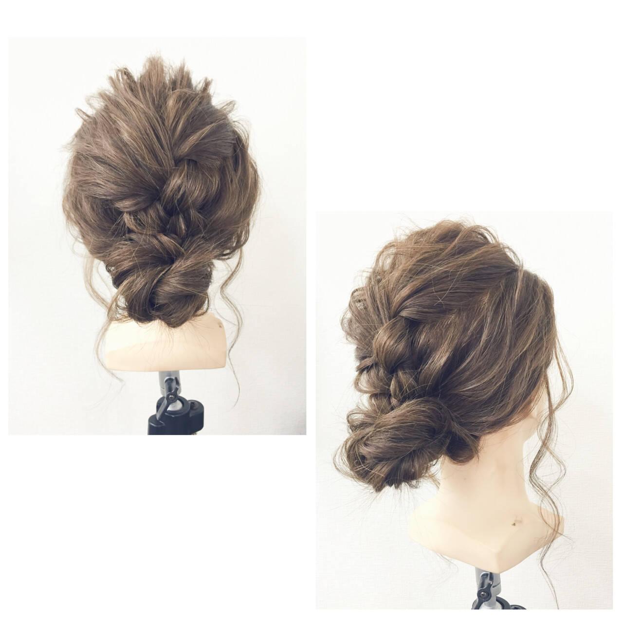 簡単ヘアアレンジ 三つ編み シニヨン ヘアアレンジヘアスタイルや髪型の写真・画像