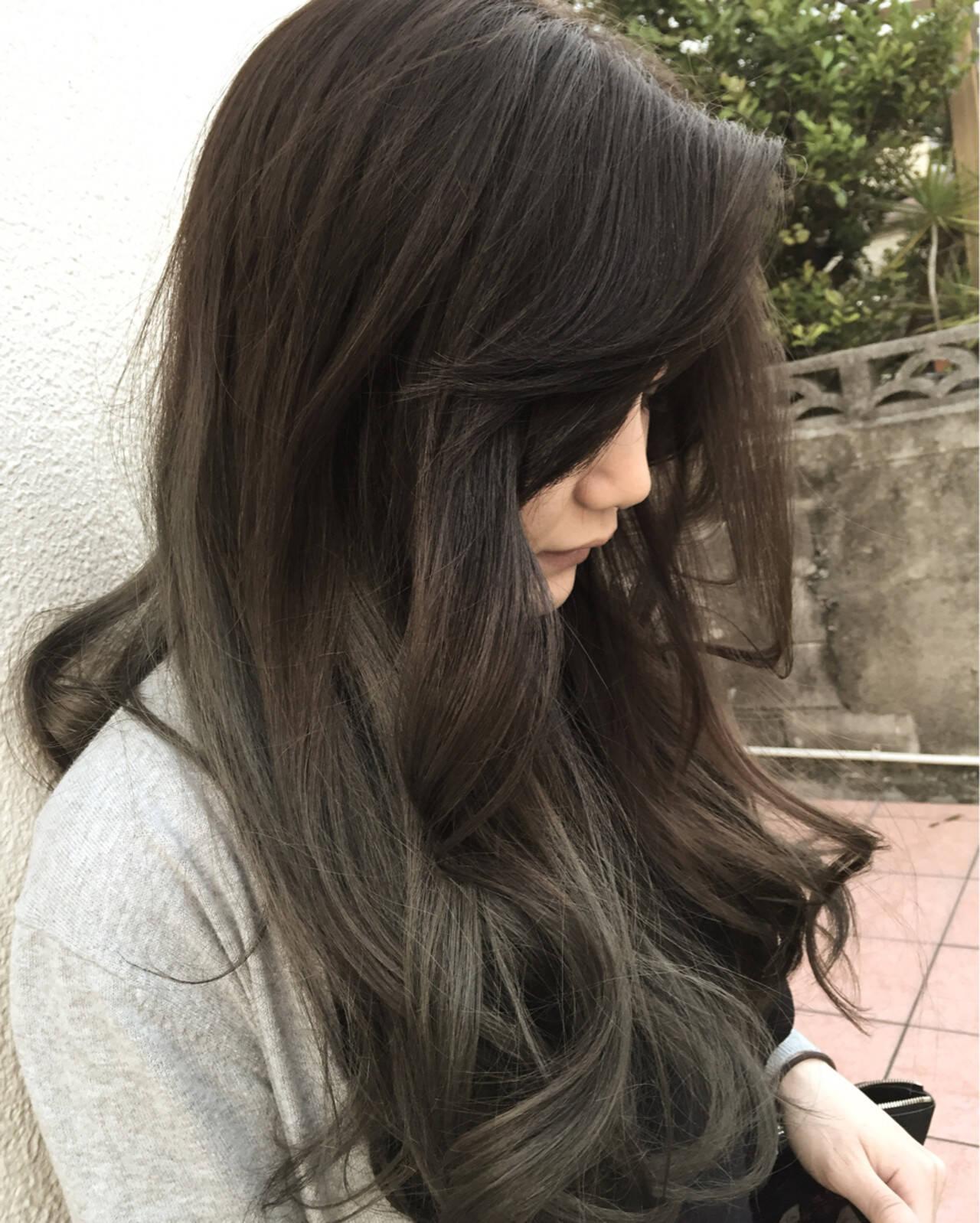 ロング ハイライト ストリート ブラウンヘアスタイルや髪型の写真・画像