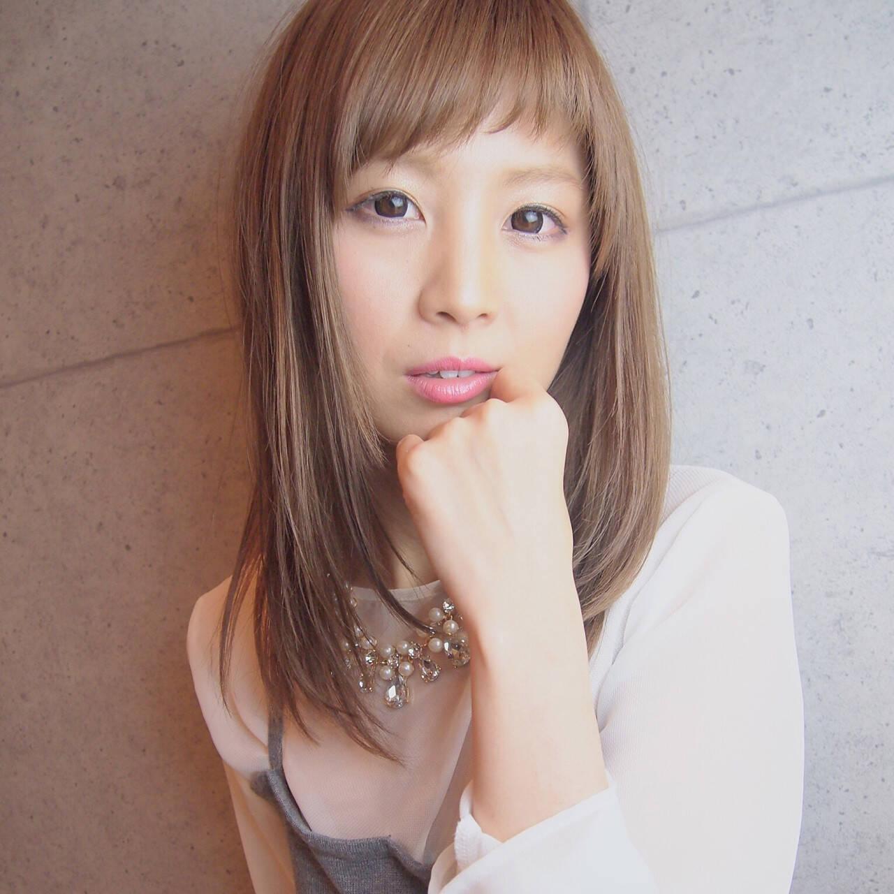 簡単ヘアアレンジ ストリート セミロング 前髪ありヘアスタイルや髪型の写真・画像