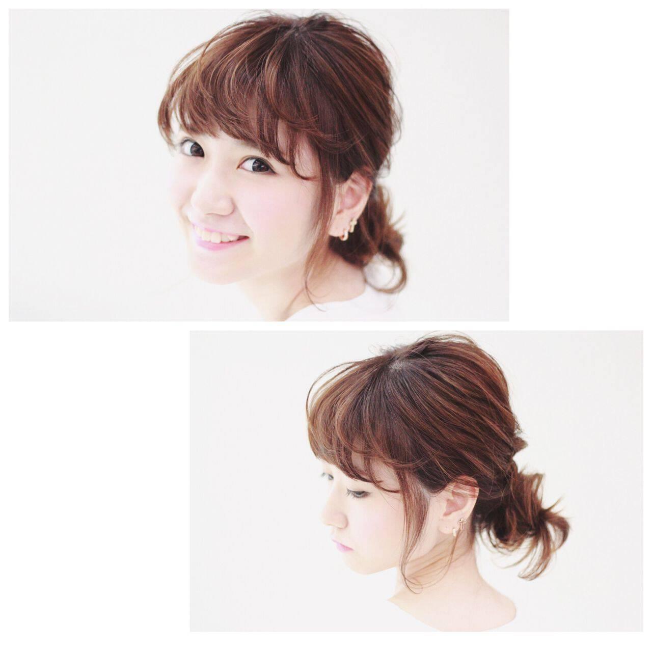 丸顔 卵型 ヘアアレンジ ガーリーヘアスタイルや髪型の写真・画像