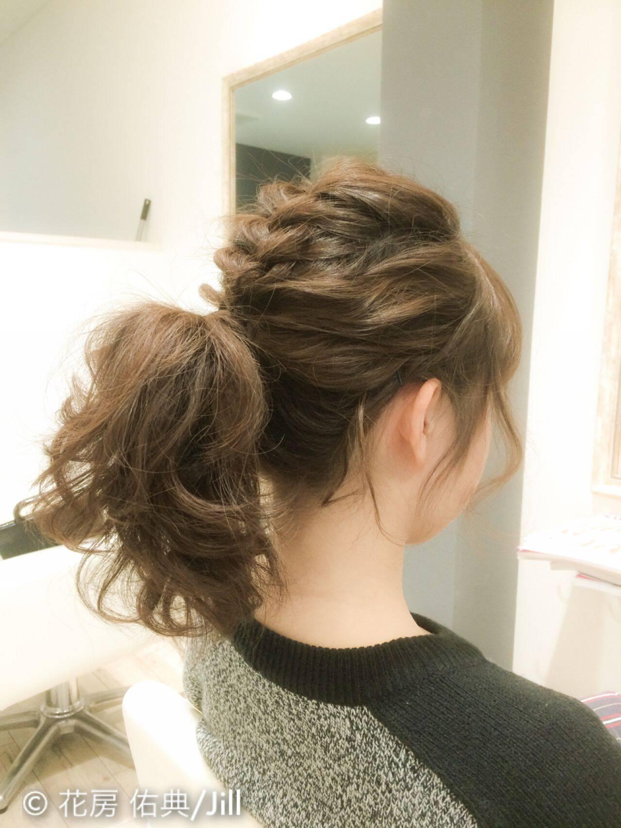 ショート ヘアアレンジ モテ髪 波ウェーブヘアスタイルや髪型の写真・画像