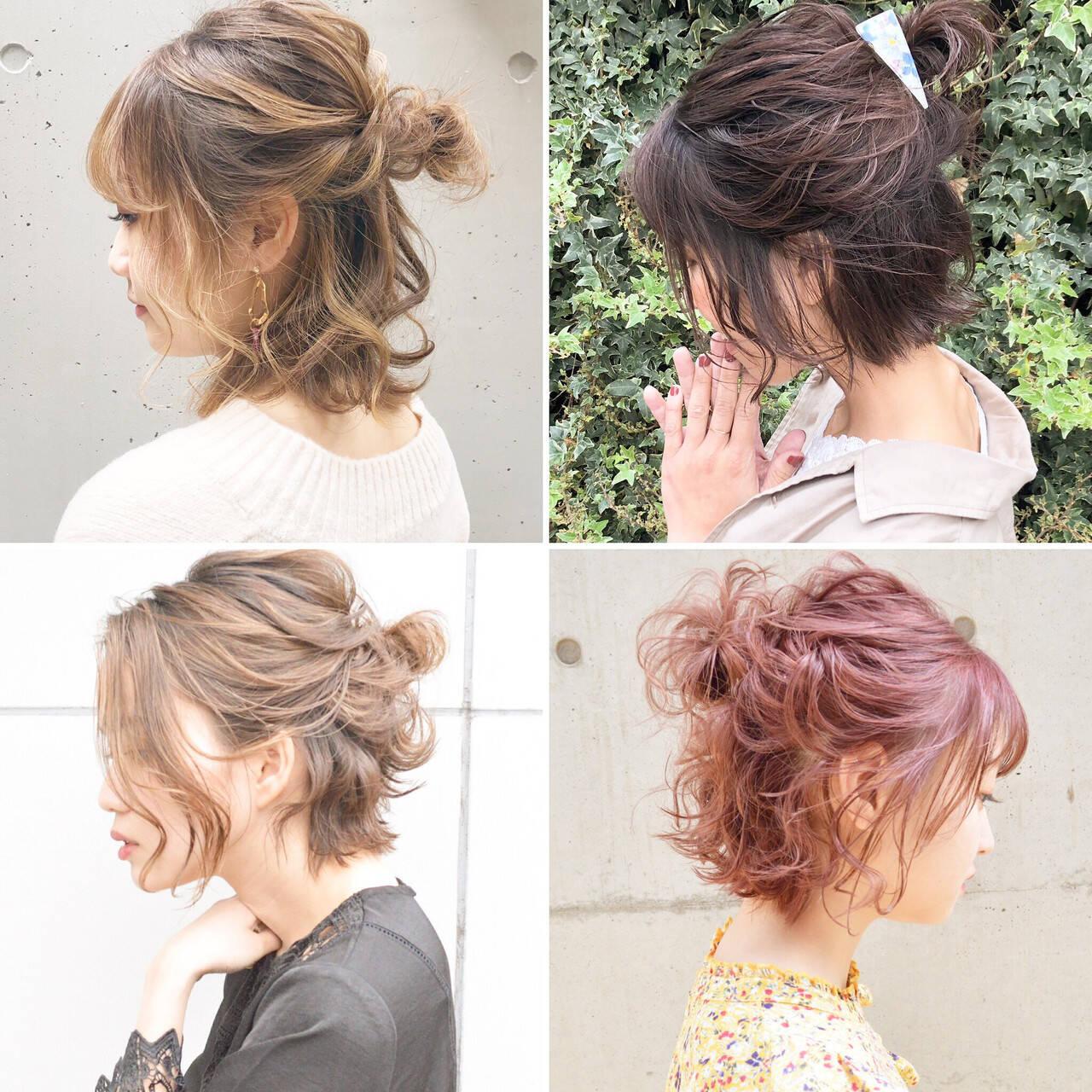 簡単ヘアアレンジ ボブ ナチュラル アンニュイほつれヘアヘアスタイルや髪型の写真・画像