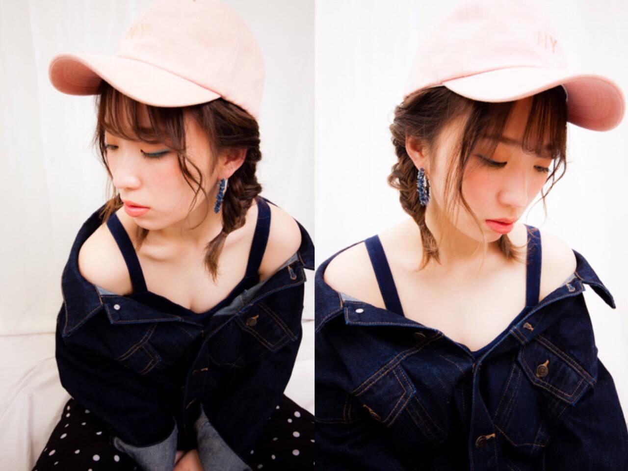 ミルクティー ヘアアレンジ フィッシュボーン フェミニンヘアスタイルや髪型の写真・画像