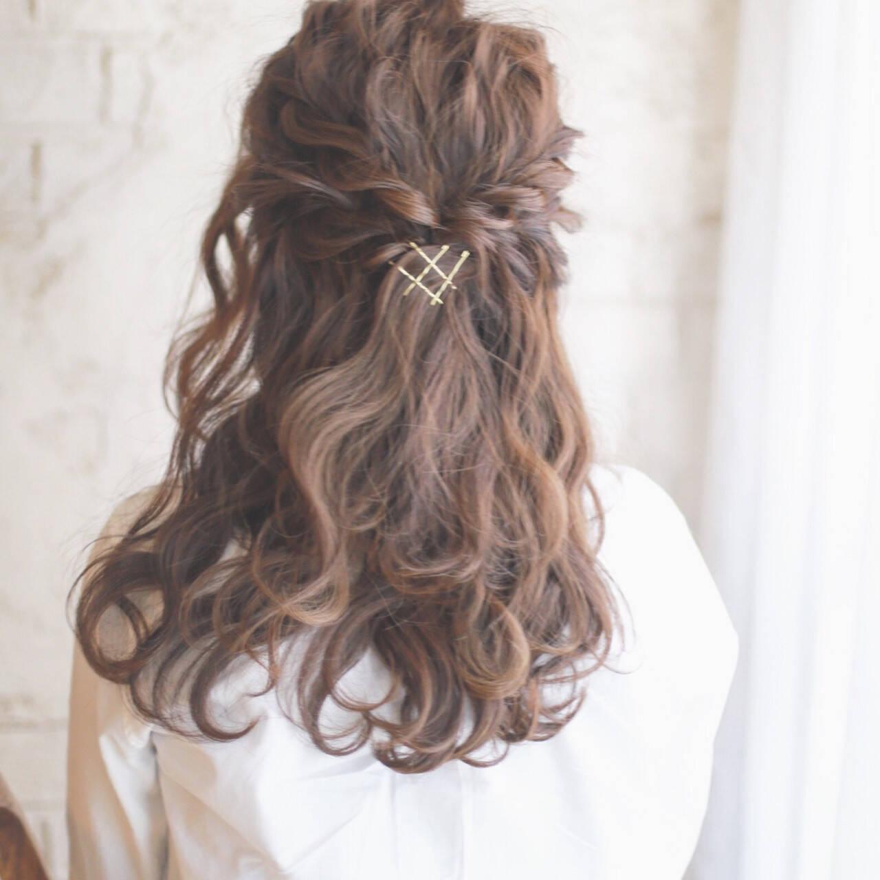 大人かわいい ヘアアレンジ ハーフアップ 簡単ヘアアレンジヘアスタイルや髪型の写真・画像