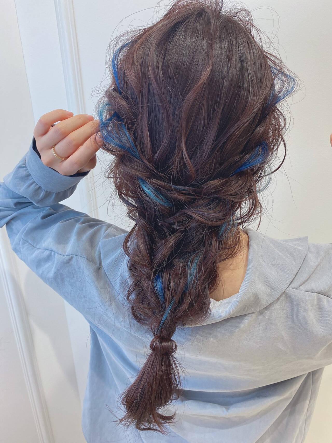 セルフヘアアレンジ セミロング 大人ロング ガーリーヘアスタイルや髪型の写真・画像