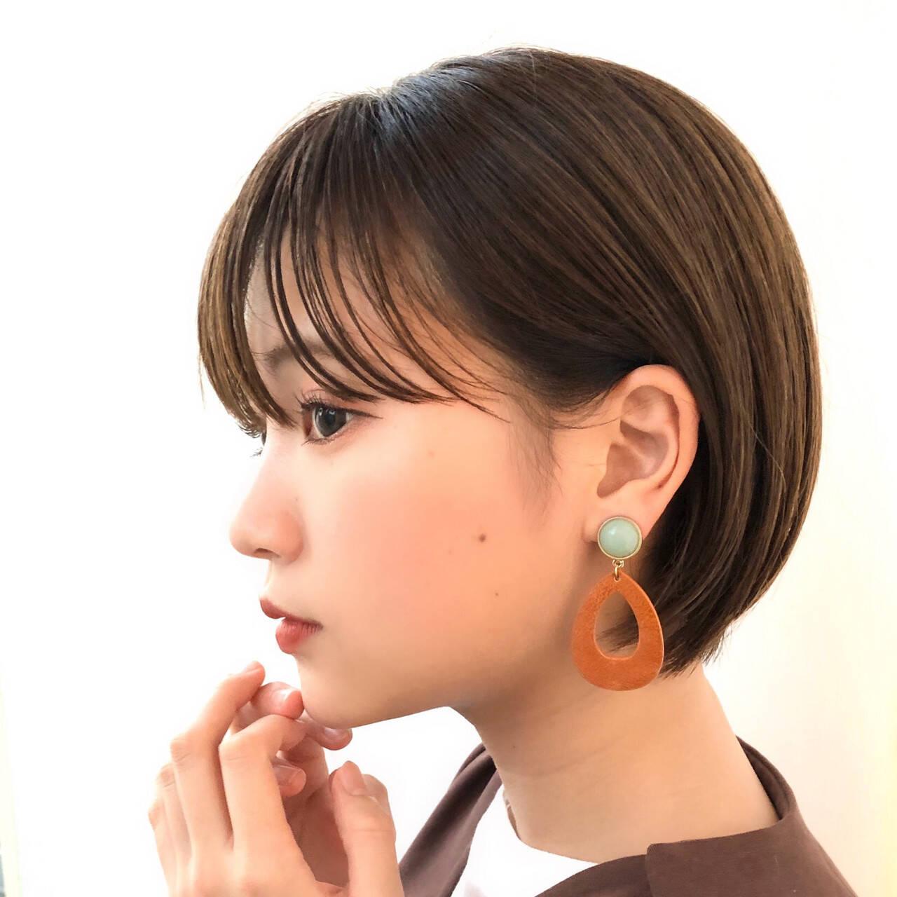 透明感カラー ショート 大人かわいい ショートボブヘアスタイルや髪型の写真・画像