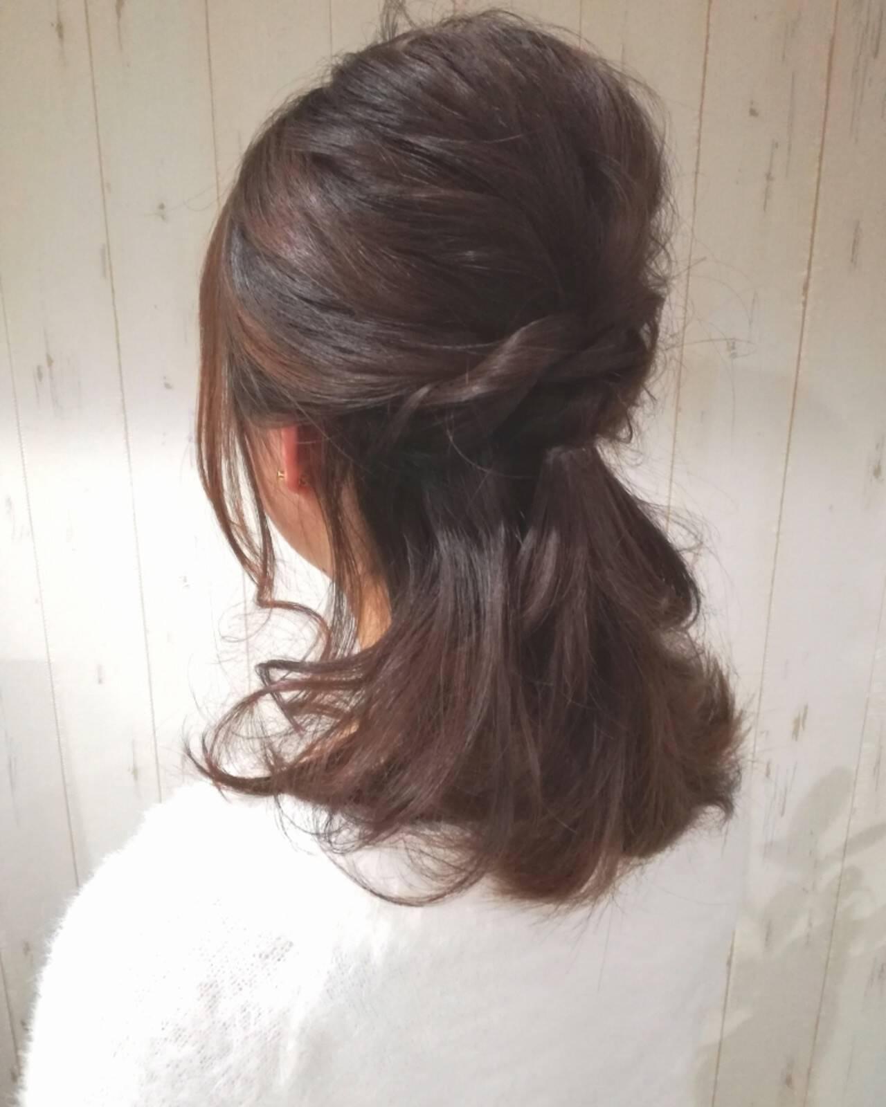二次会 セミロング 結婚式 ラフヘアスタイルや髪型の写真・画像