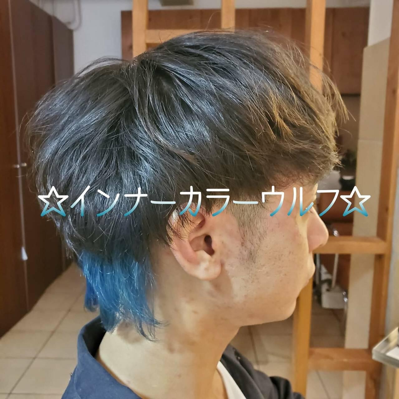 メンズカラー メンズ インナーカラー ショートヘアスタイルや髪型の写真・画像