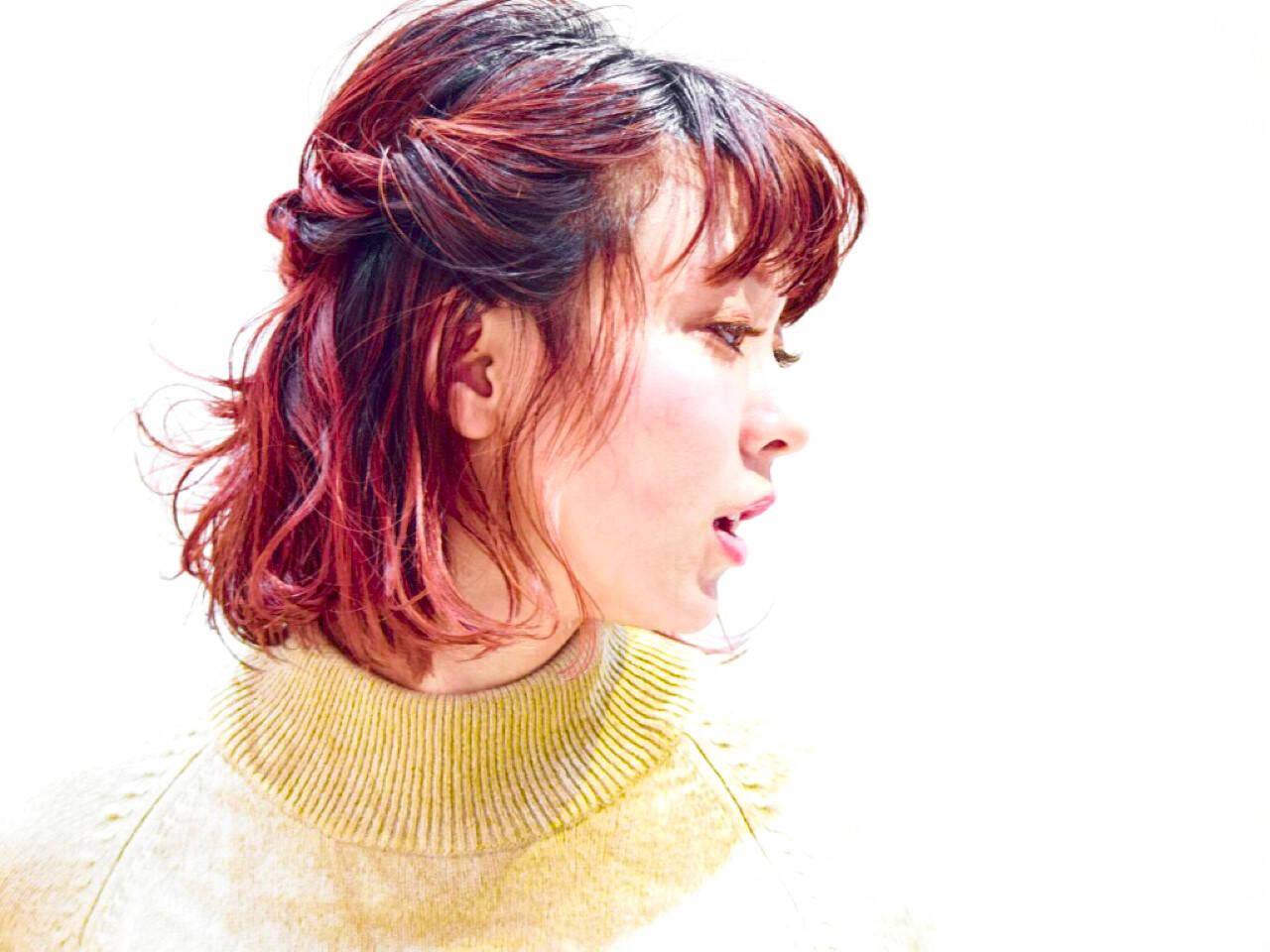 グラデーションカラー ガーリー パーマ ミディアムヘアスタイルや髪型の写真・画像