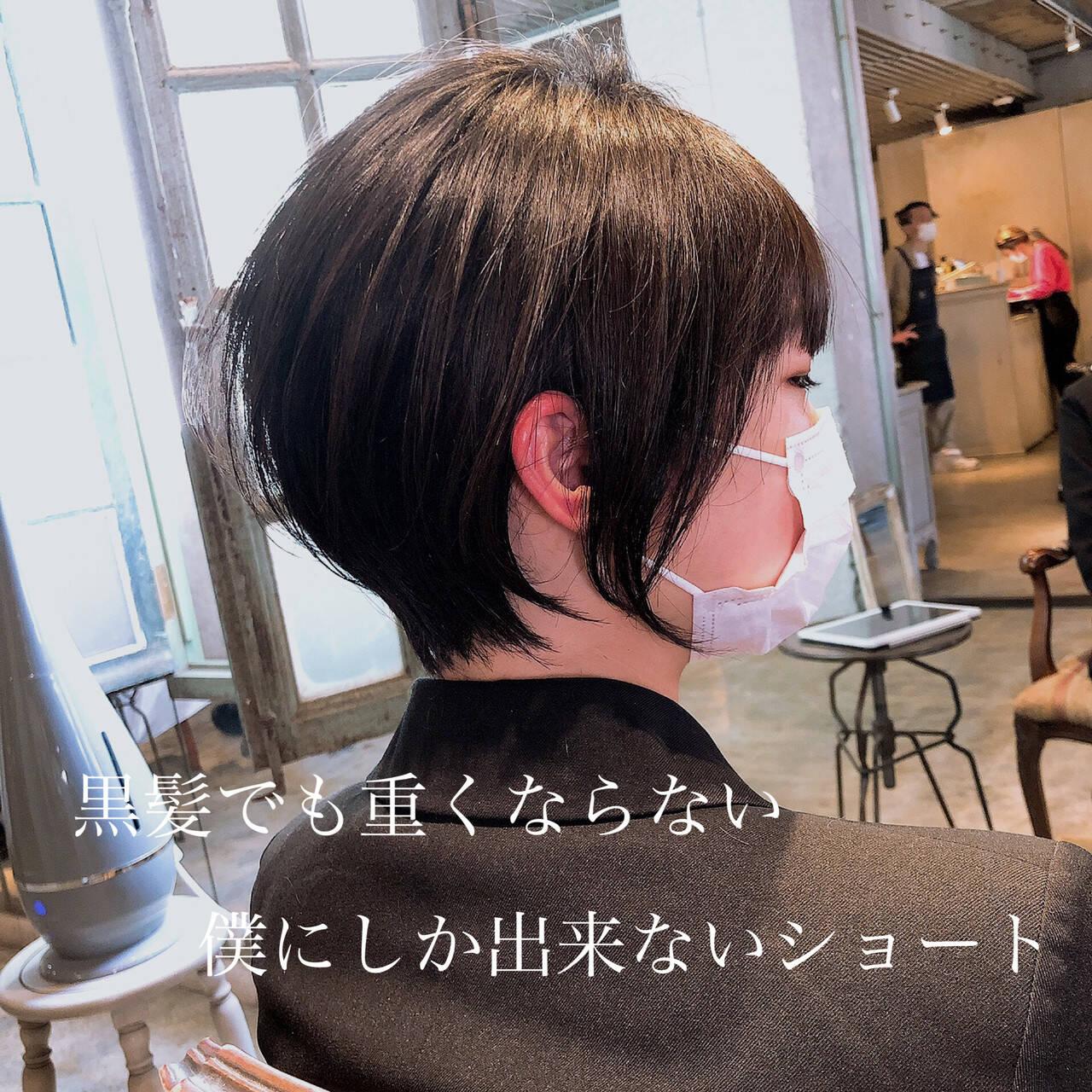 ショートボブ ベリーショート ナチュラル インナーカラーヘアスタイルや髪型の写真・画像