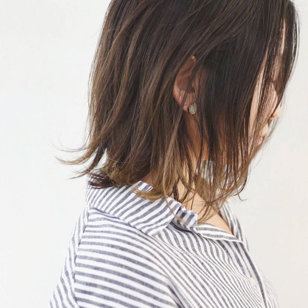 ミディアム 外国人風カラー インナーカラー グラデーションカラーヘアスタイルや髪型の写真・画像