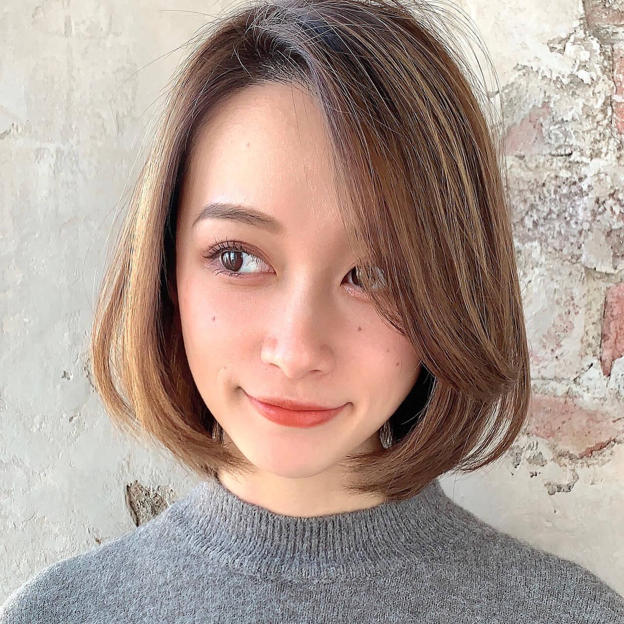 ひし形シルエット エレガント 小顔ヘア ボブヘアスタイルや髪型の写真・画像