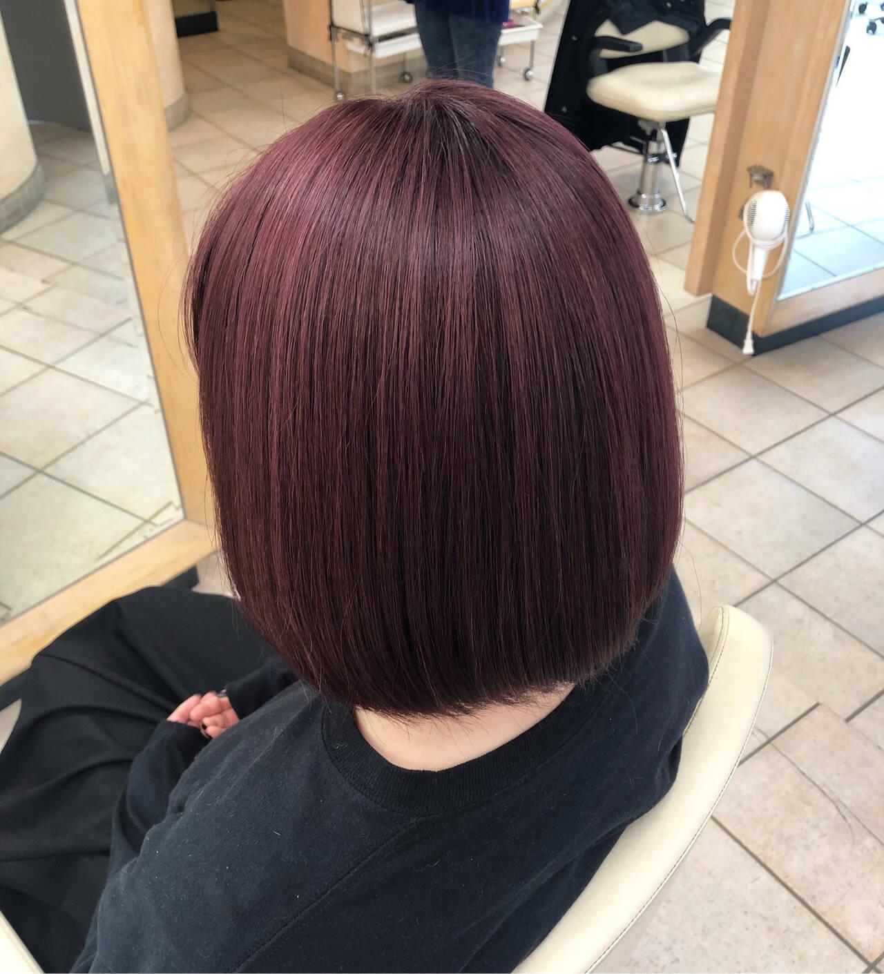 ラズベリーピンク ボブ フェミニン ピンクパープルヘアスタイルや髪型の写真・画像