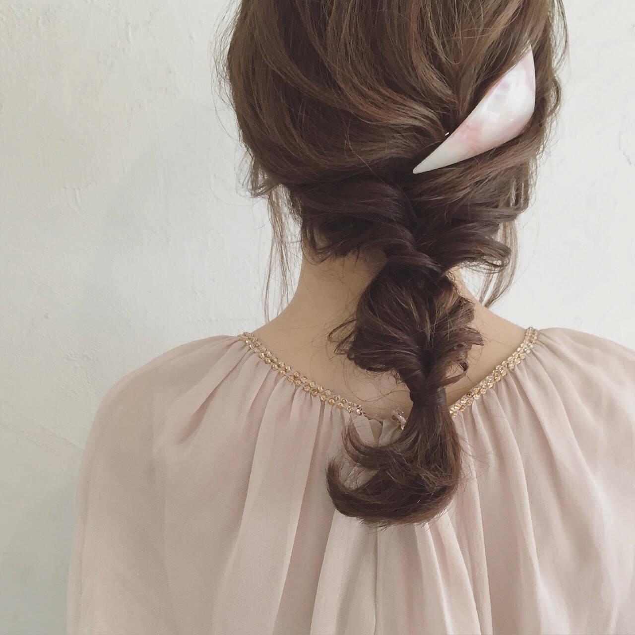 セミロング ヘアアレンジ ショート 三つ編みヘアスタイルや髪型の写真・画像