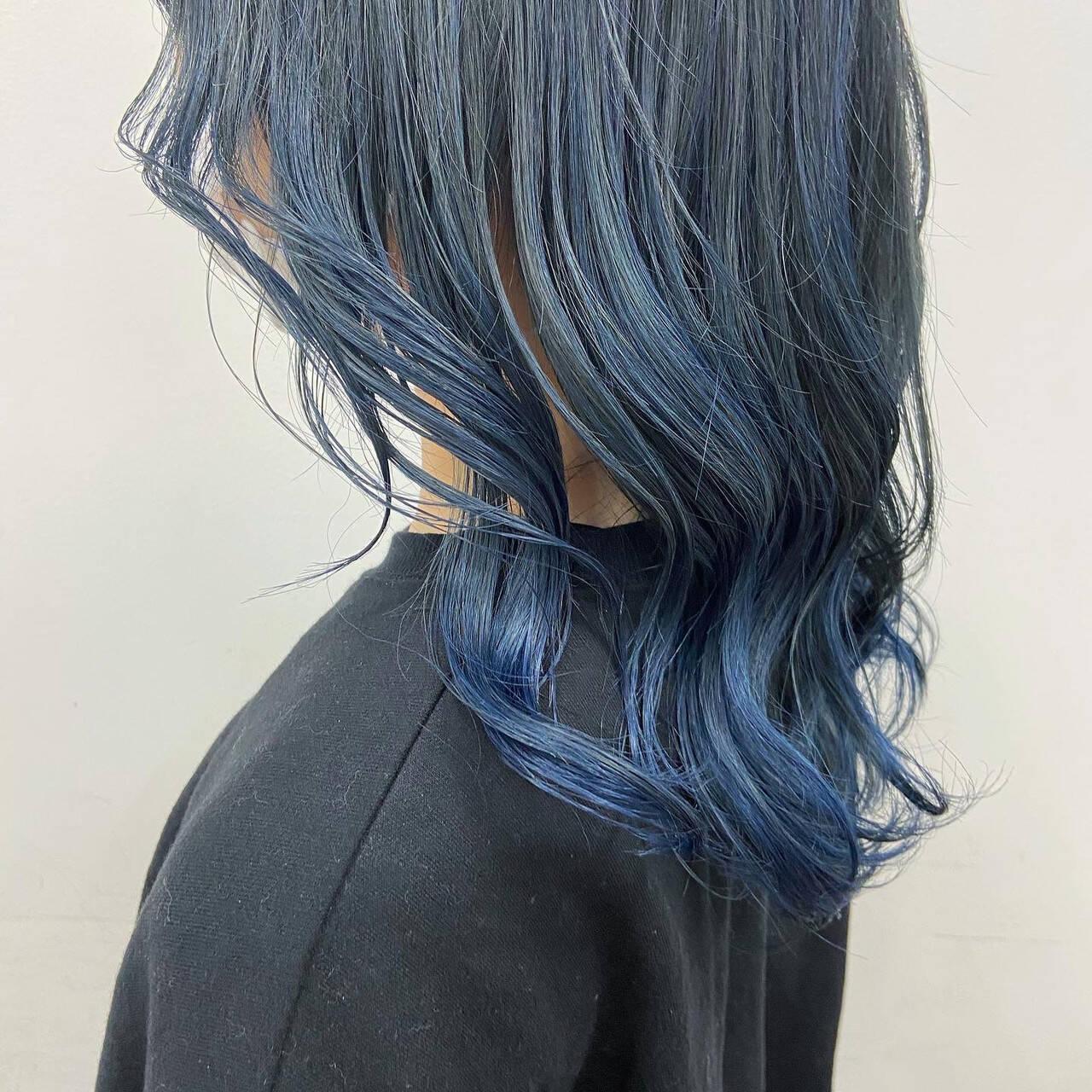グラデーションカラー セミロング グラデーション モードヘアスタイルや髪型の写真・画像