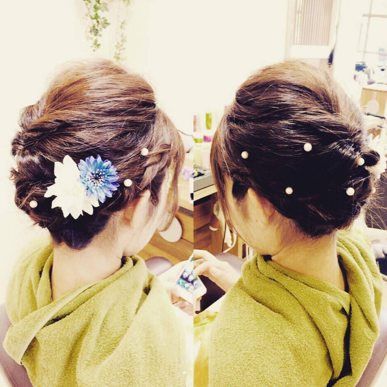 和装 編み込み 夏 ガーリーヘアスタイルや髪型の写真・画像