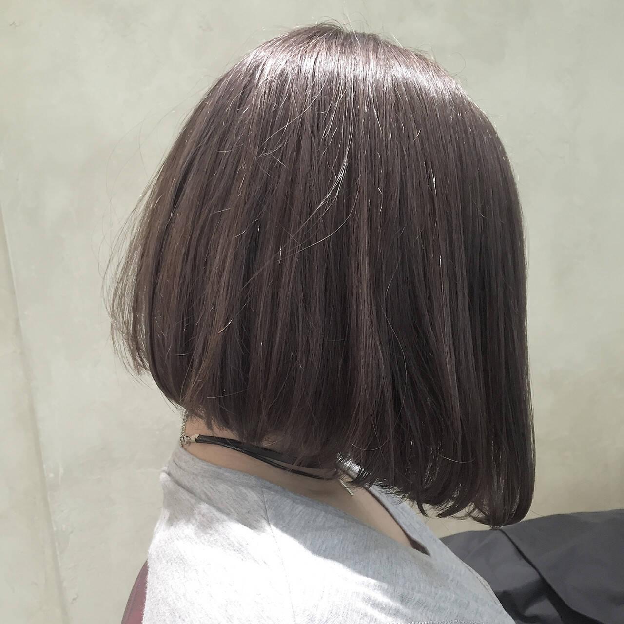 外国人風 ボブ ハイライト 簡単ヘアアレンジヘアスタイルや髪型の写真・画像